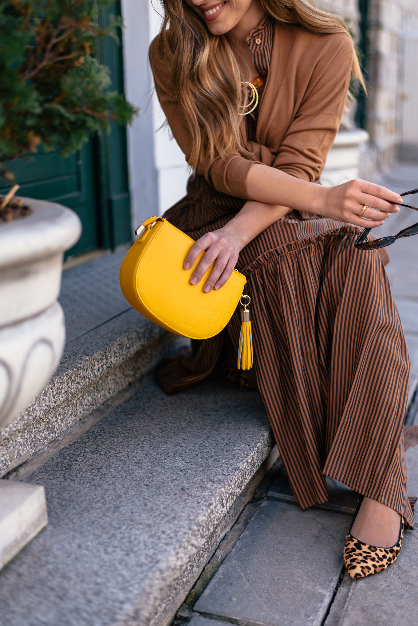 yellow mini purse handbag
