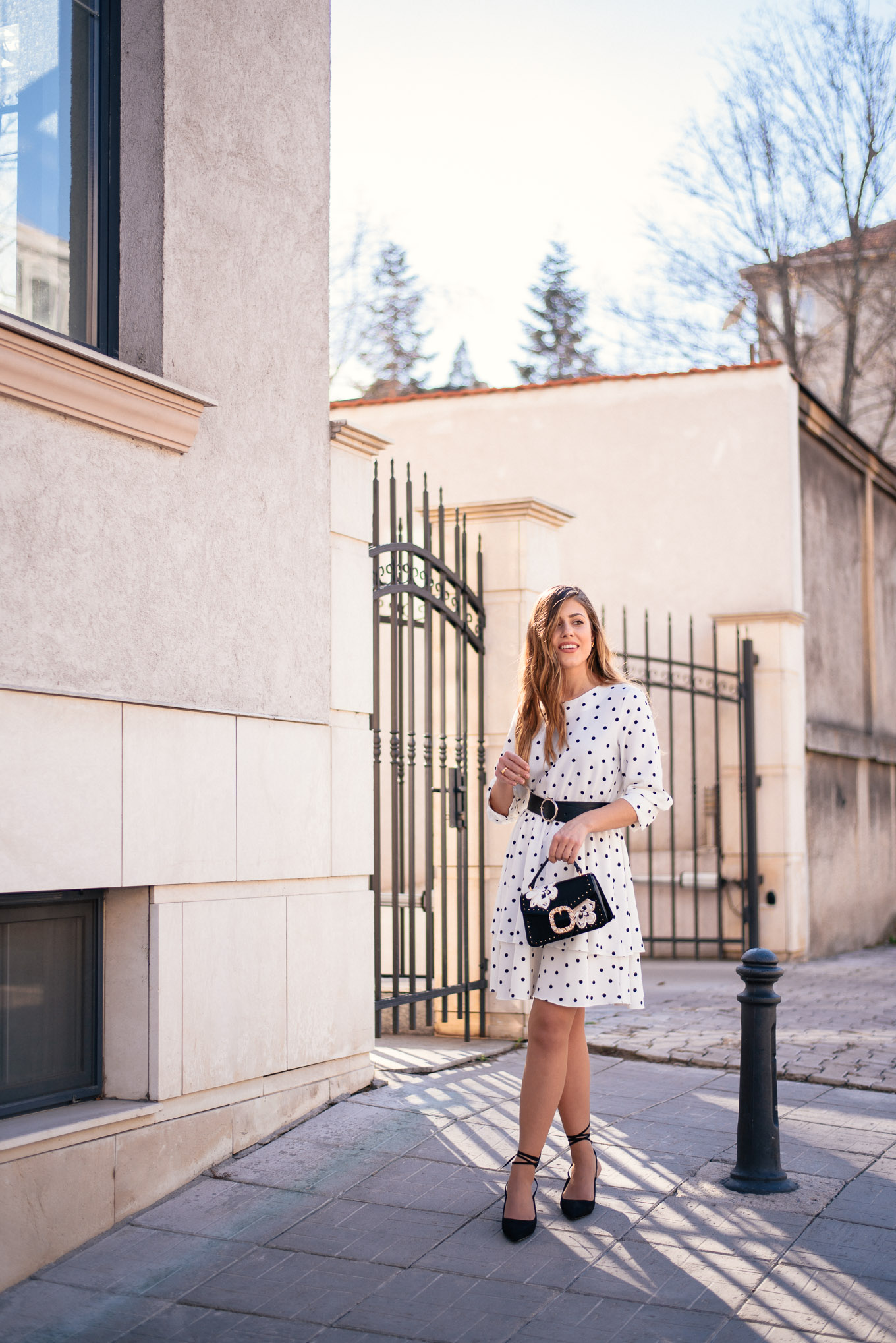 Bulgarian blogger wearing polka dot dress for spring
