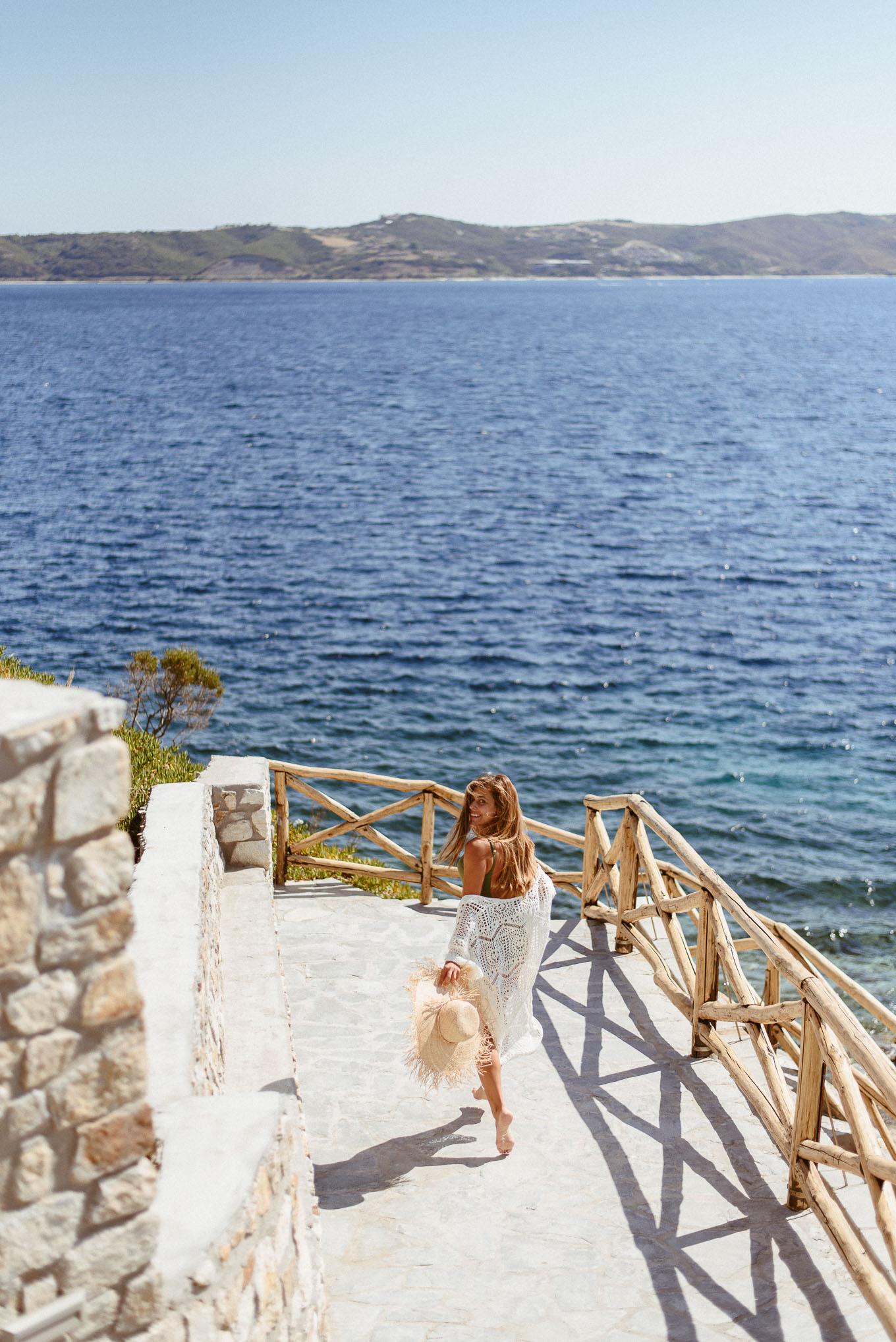 Beach girl exploring Ammouliani