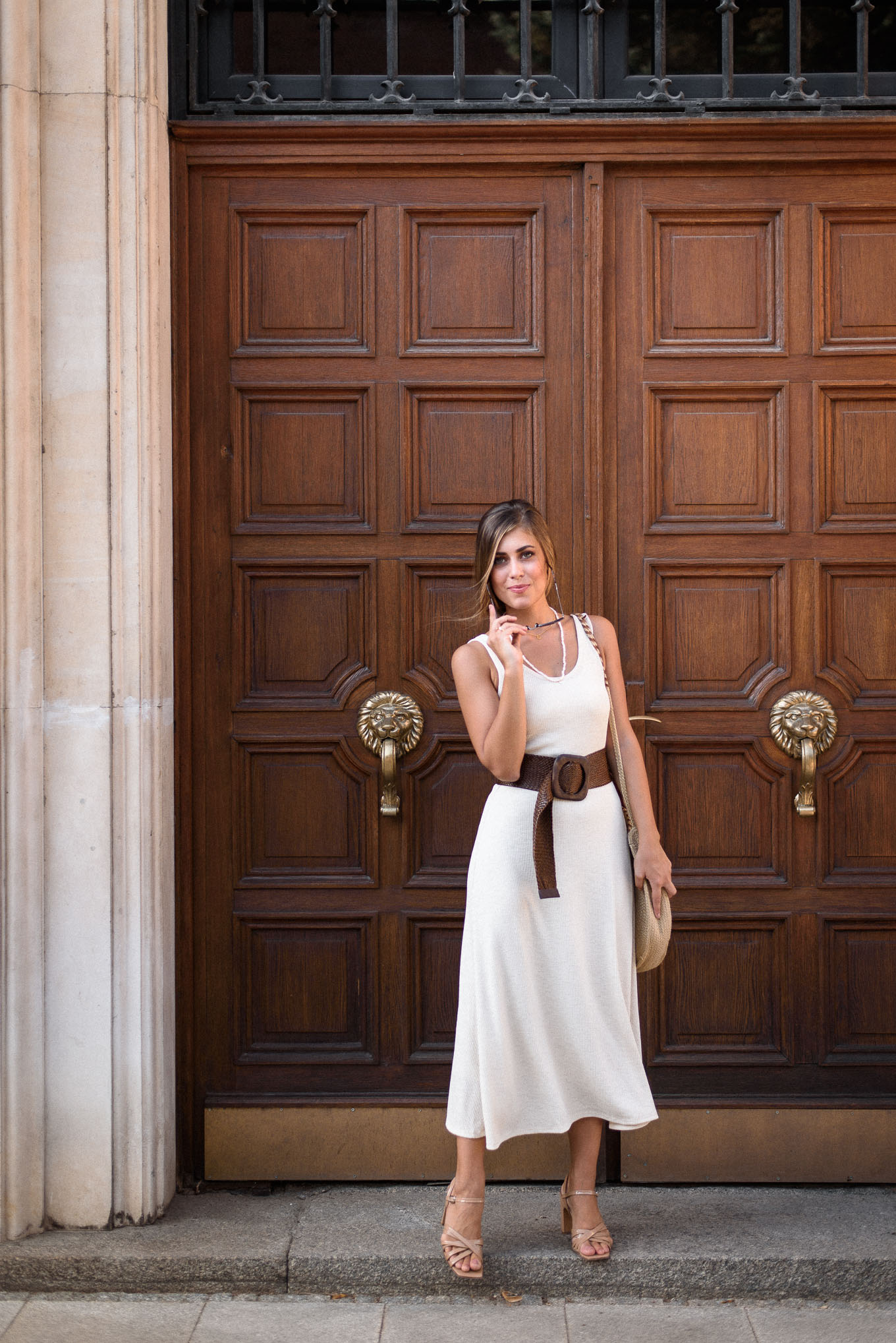 Bulgarian fashion blogger wearing white dress