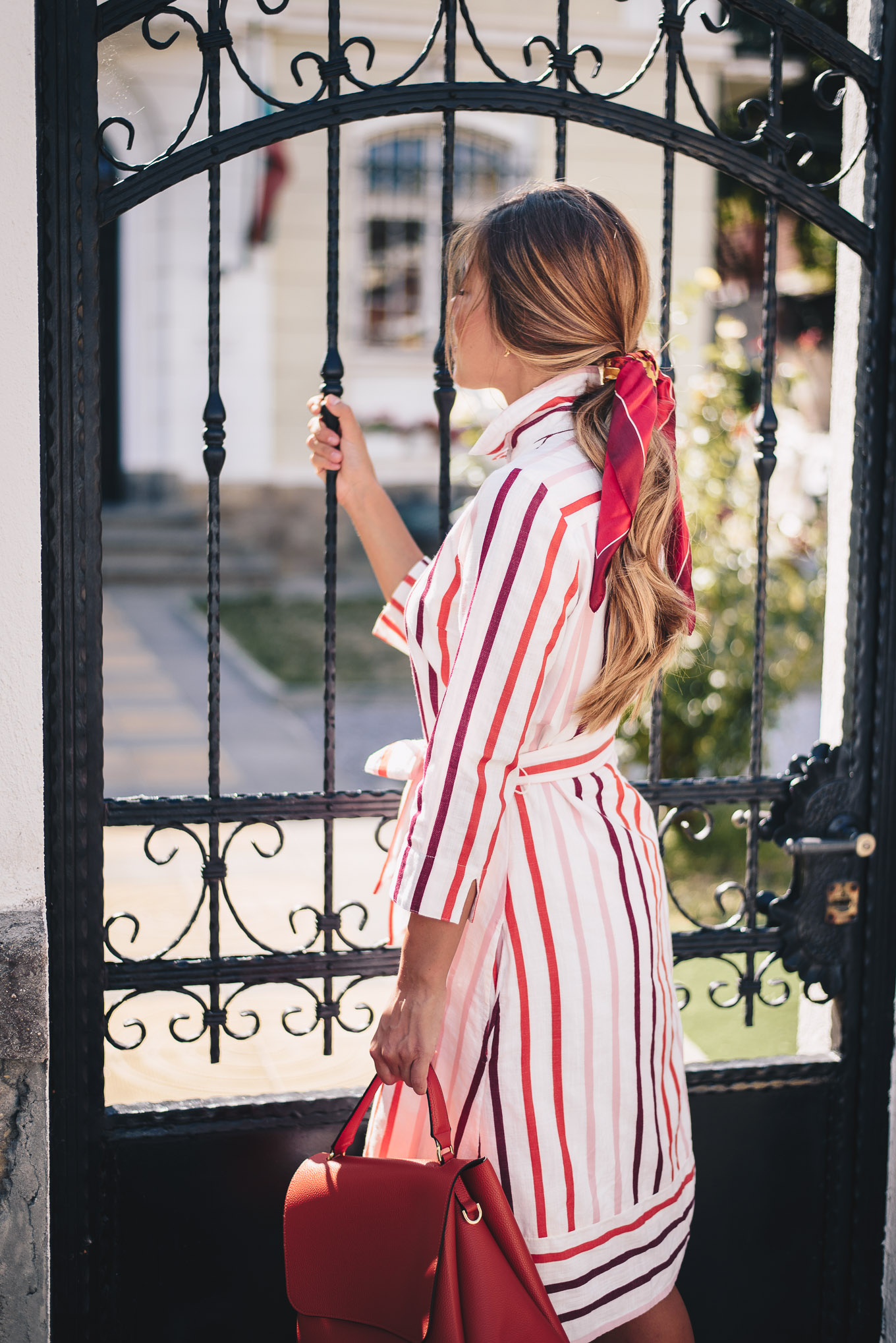 wearing midi striped dress