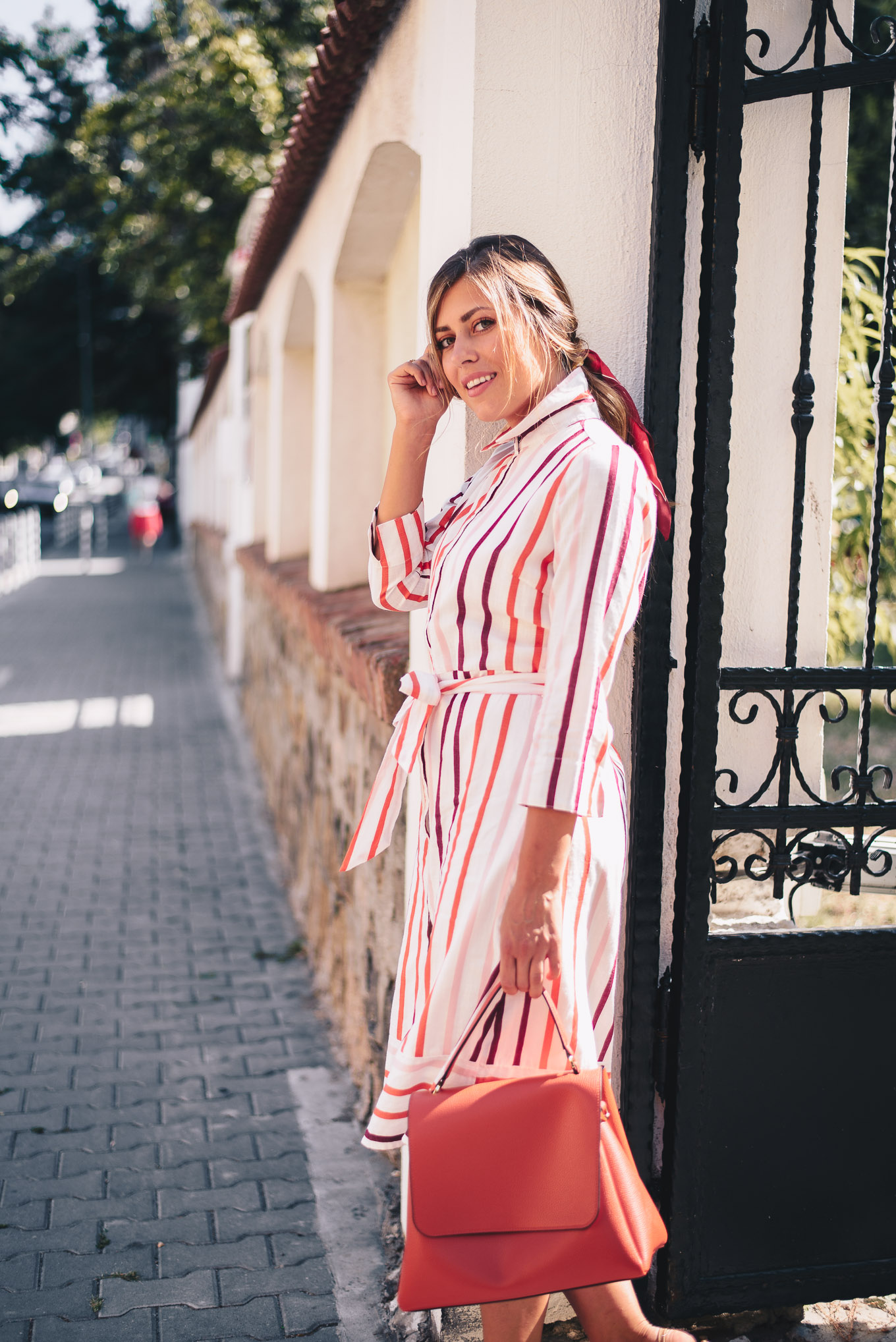 midi style striped dress
