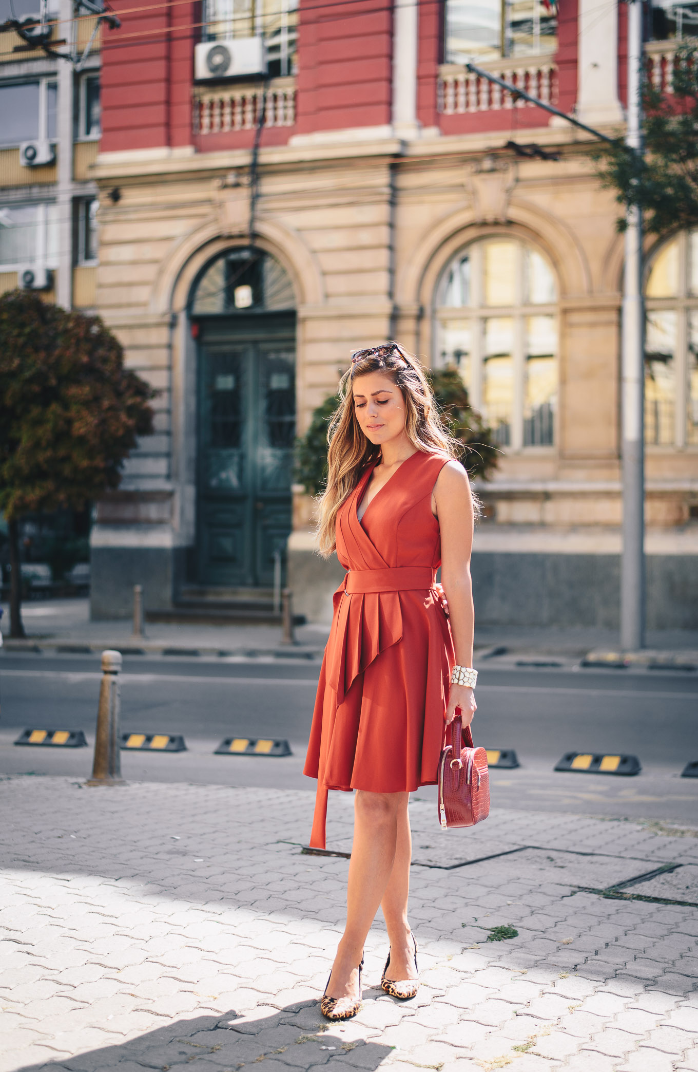 wearing pop of red dress