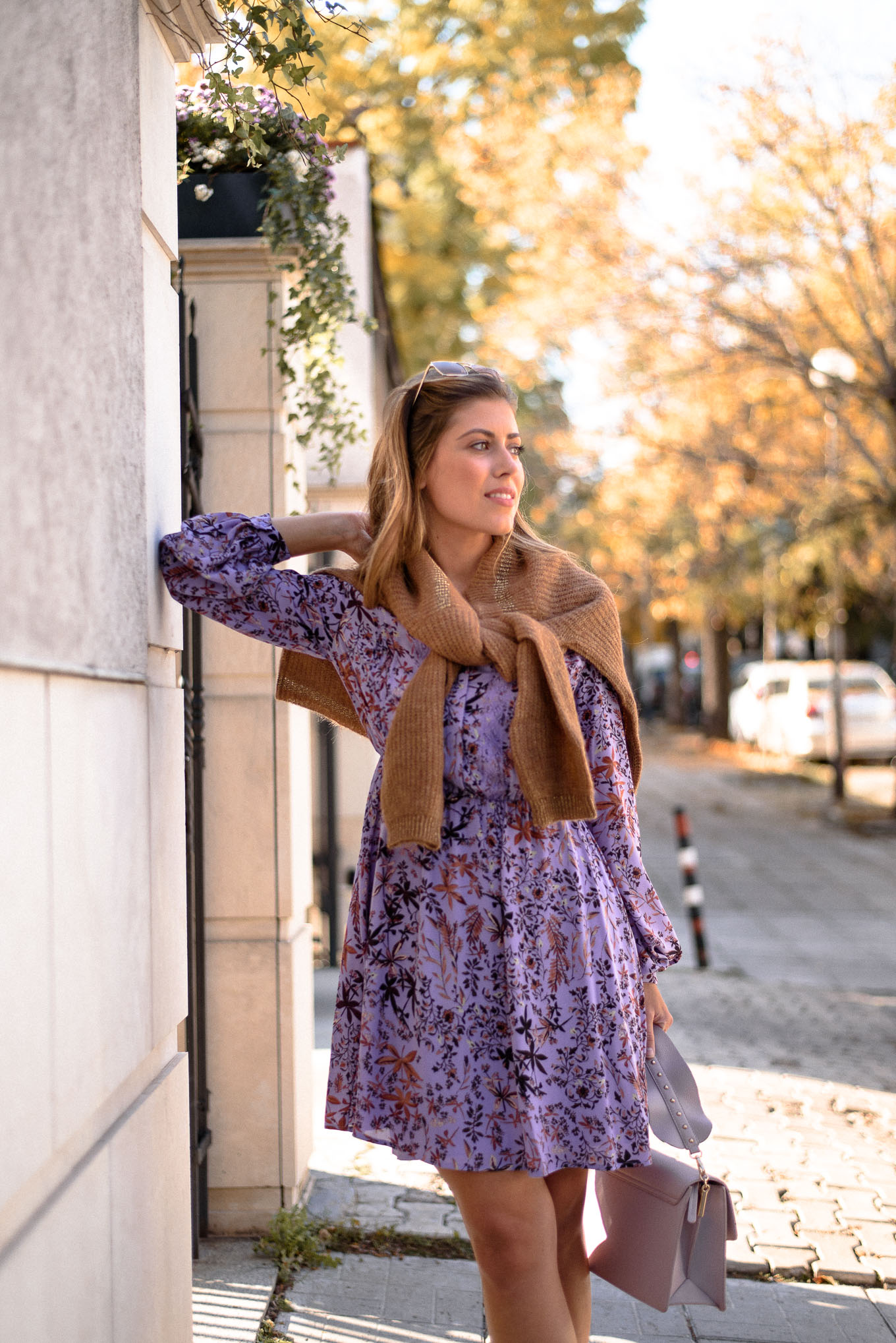 Fall light dress in the city