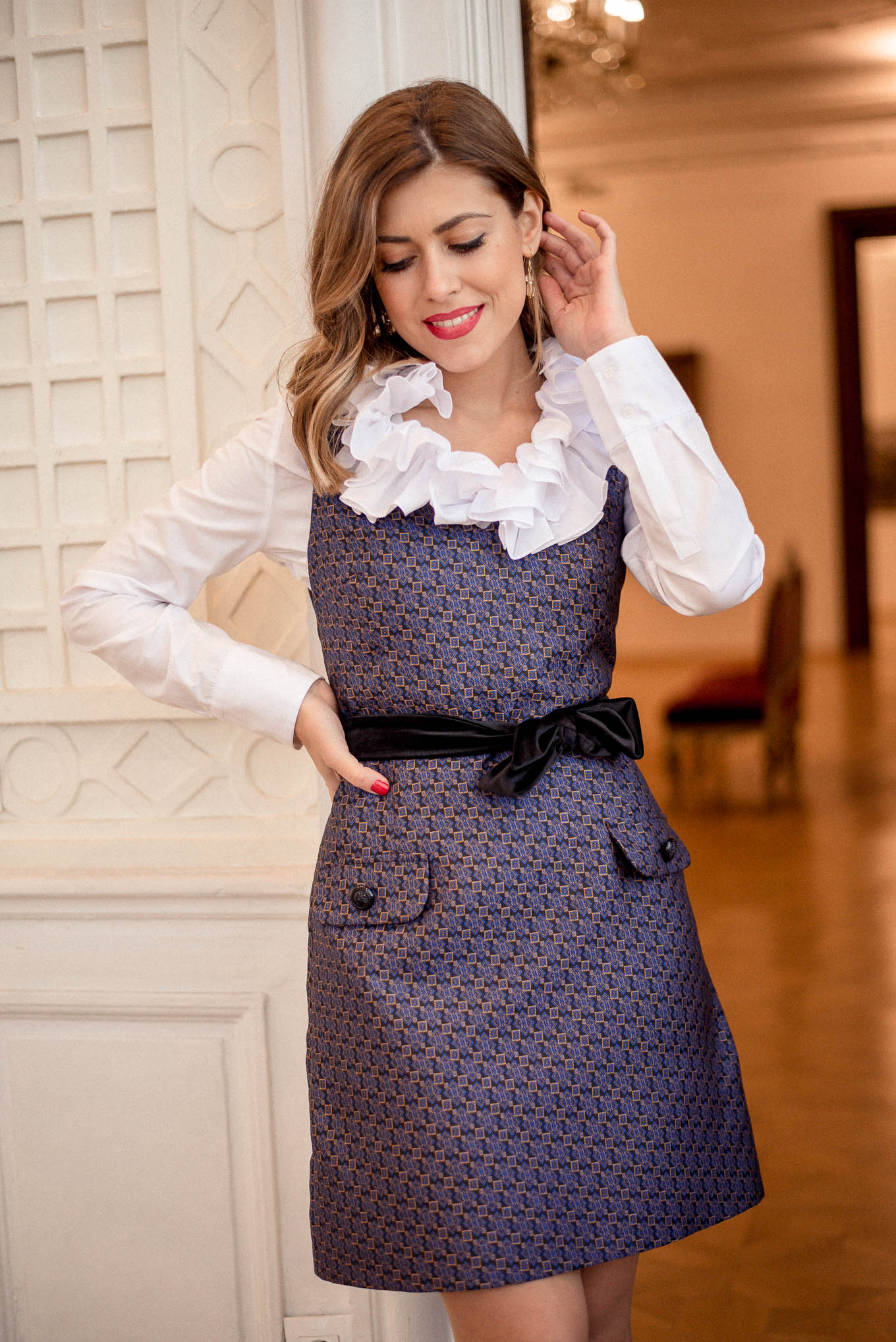 Pinafore dress in jacquard