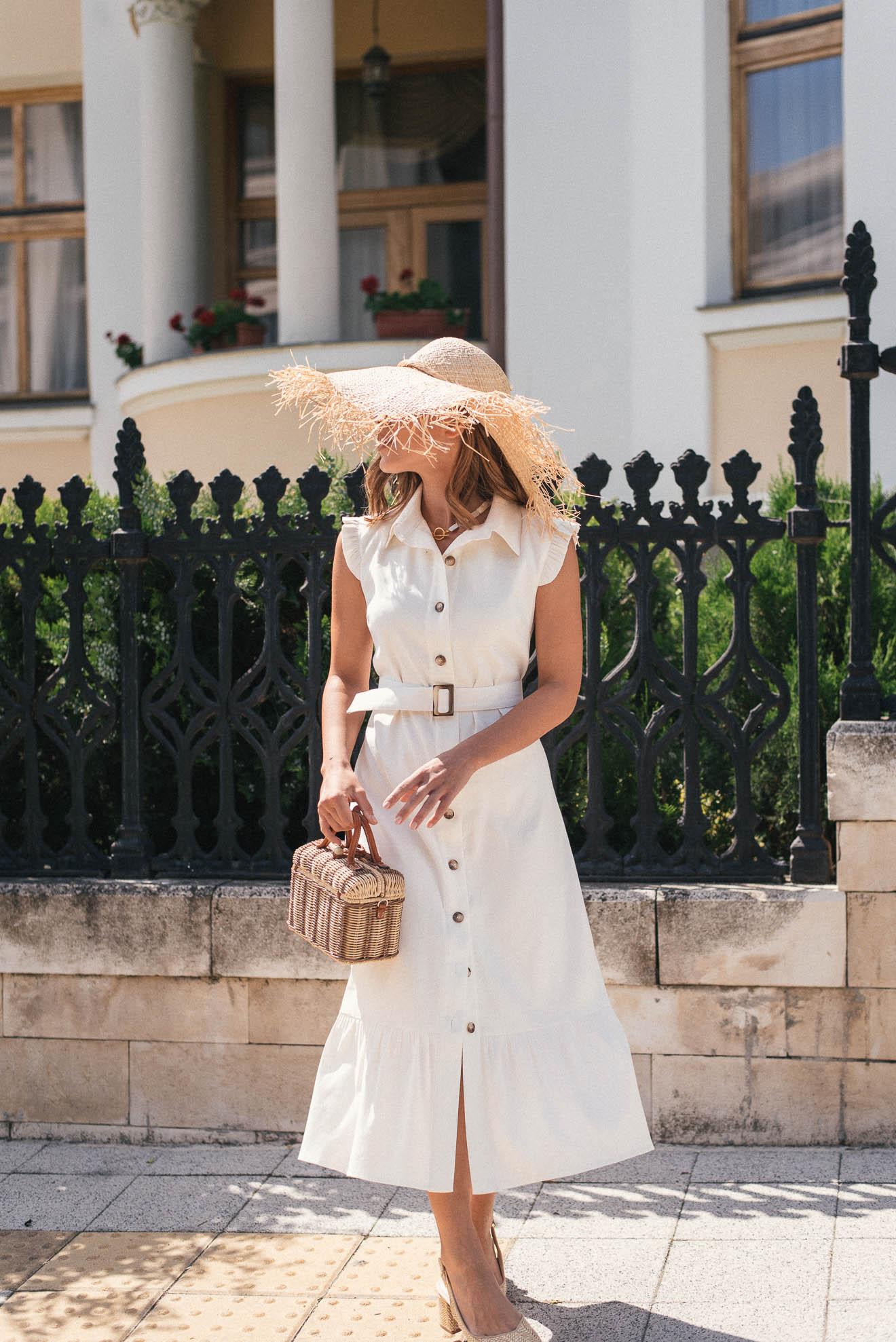 Cream linen premium dress