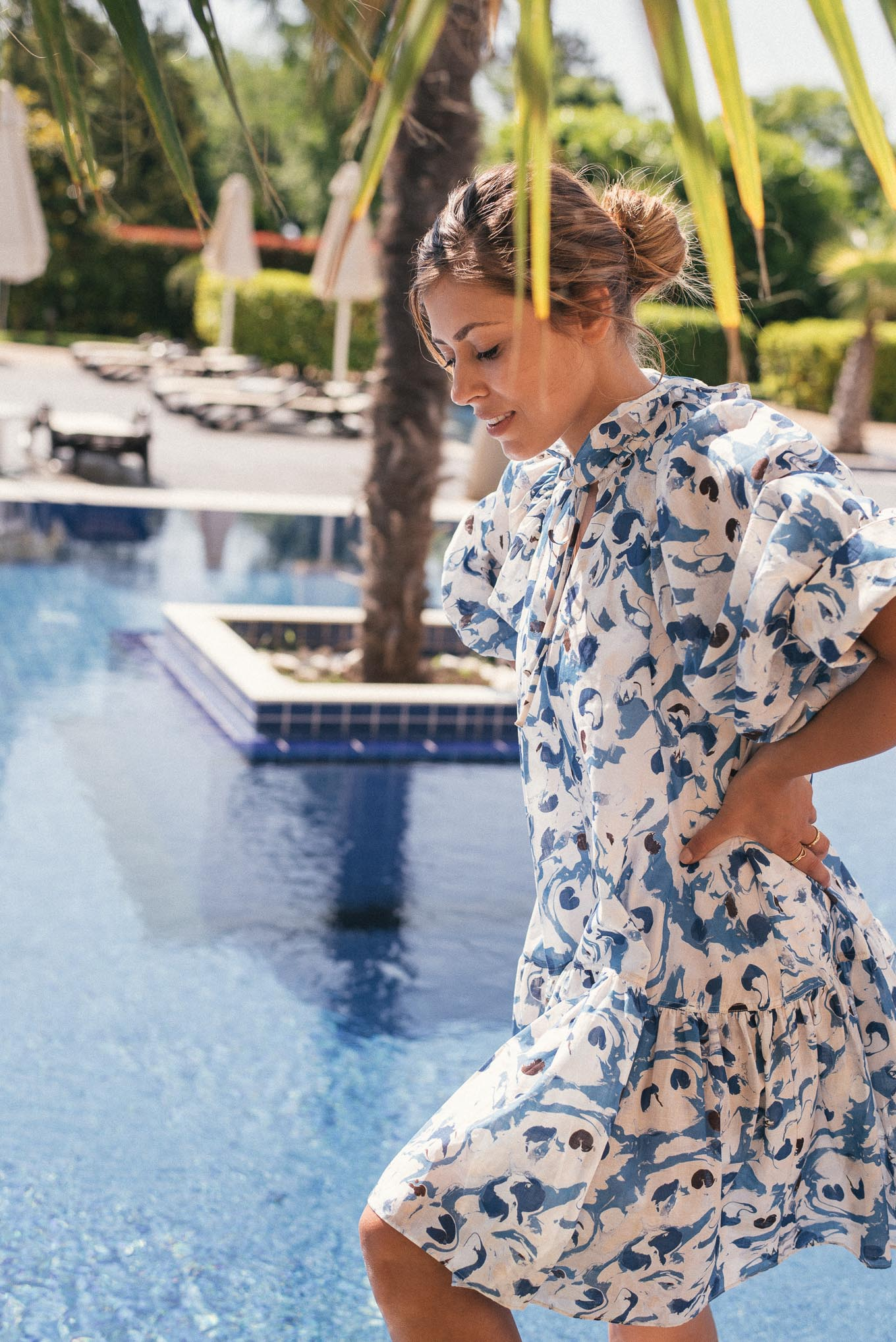 H&M summer dress by the pool