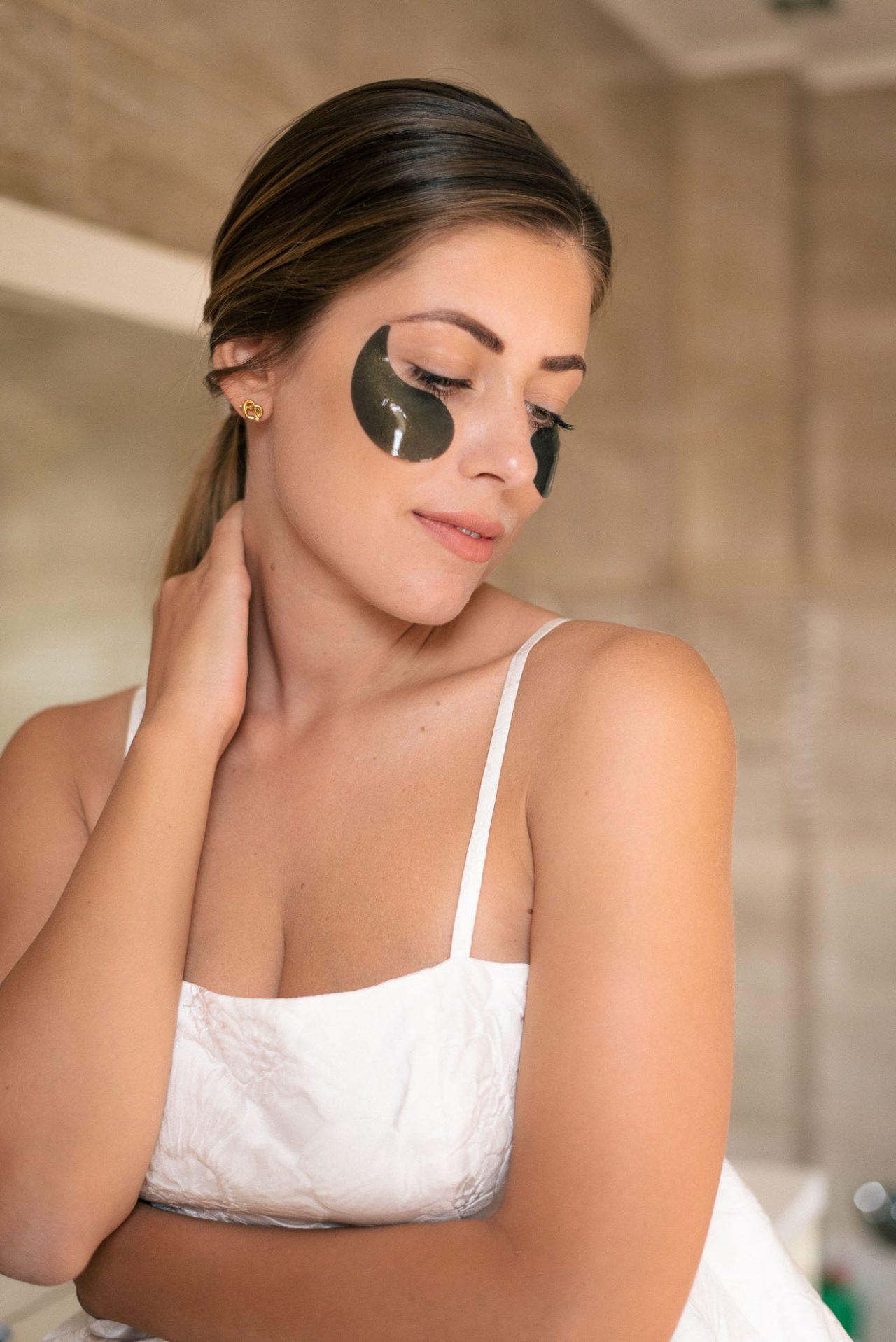 face Gold black pearl eye mask