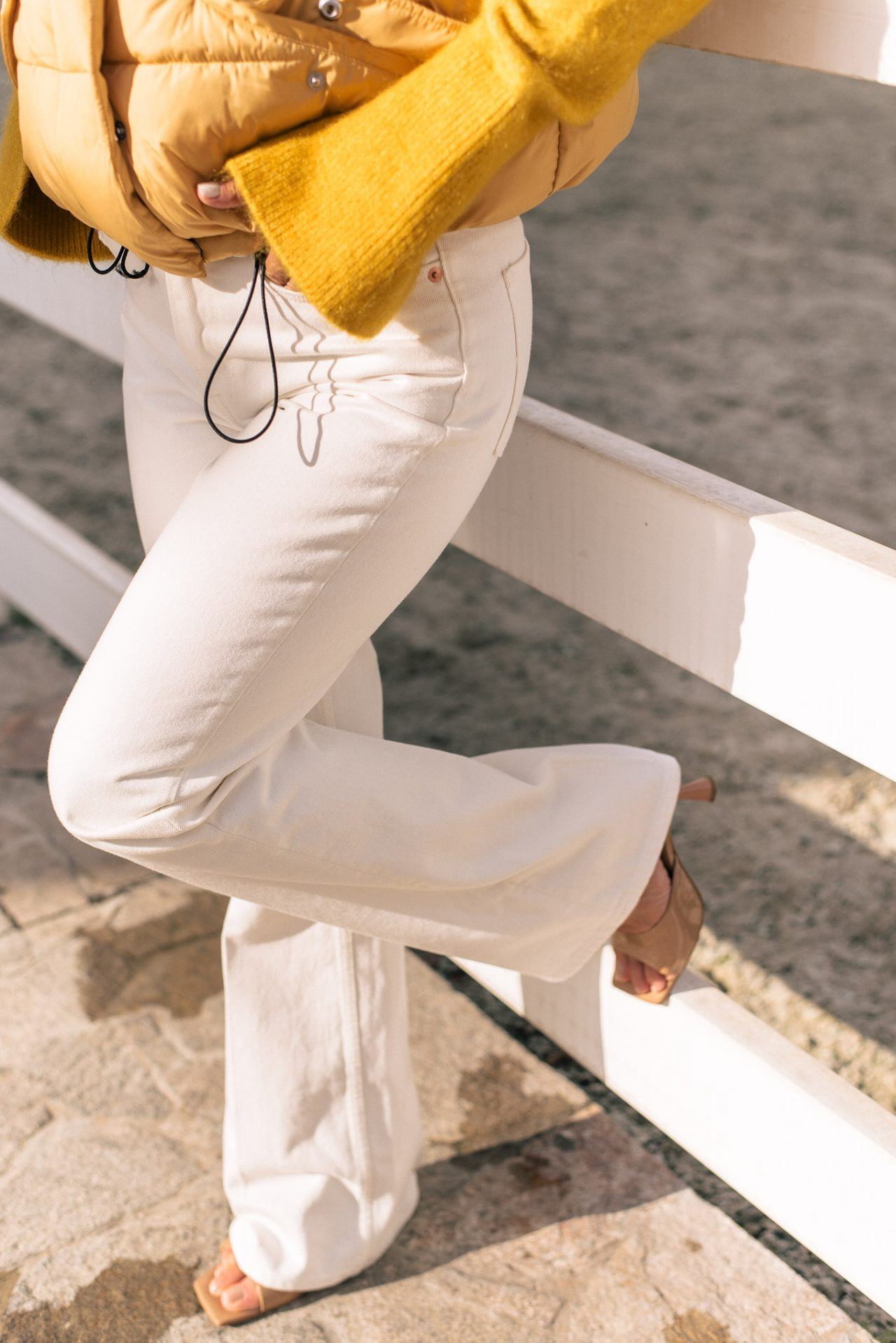 white denim trousers by H&M
